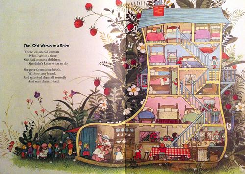 """Frank Weiner přirovnává současnou školu architektury k obrázku amerického ilustrátora Gyoa Fujikawy z knihy Matka Husa (Mother Goose, 1968) s tím rozdílem, že dnešní děti z říkanky """"Stará žena v botě"""" mají každé svůj iPad; zdroj"""