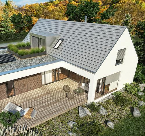 Vítězný projekt Bohumila Brůži; základní tvar domu vychází z lidových staveb se sedlovou střechou a doplňuje soudobé tvarosloví a moderní detaily; zdroj: Wienerberger