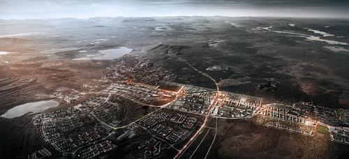 White Arkitekter a Ghilardi + Hellsten Arkitekter: Kiruna 4-ever; vítězný projekt mezinárodní soutěže na přesunutí města Kiruny na severu Švédska; hornické město s 20 000 obyvateli má být kvůli těžbě železné rudy během následujíc