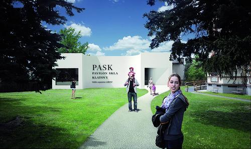 Soutěžní návrh, 2013; grafické pojednání vstupní fasády, které bylo řešeno již v rámci soutěže, dalo vzniknout samotnému názvu instituce.