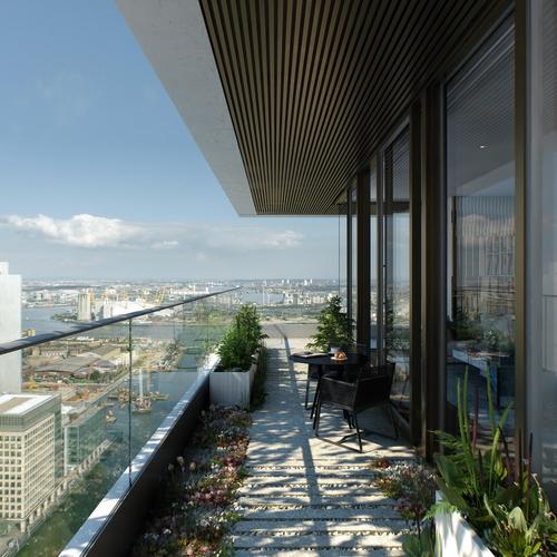 Budova nabídne celkem 792 apartmány, přičemž každý z nich bude mít vlastní venkovní terasu s výhledem na Canary Wharf; vizualizace: Eco World – Ballymore.