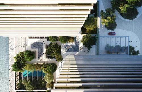 Vizualizace nabízí pohled na bazén (v levém spodním rohu) a severní a jižní vstup mezi oběma věžemi, který běžný smrtelník zřejmě nikdy neuvidí; vizualizace: Eco World – Ballymore.