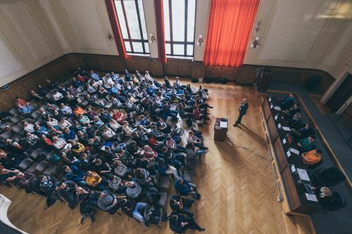 Diskuzní setkání na téma Brněnské nádraží a železniční uzel se studenty brněnské techniky na půdě Fakulty stavební VUT v Brně, 14. března 2018; foto: Simona Zpěváková / KAM Brno.