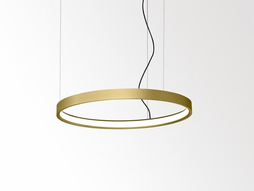 Kruhové svítidlo Superloop ve zlaté barvě.