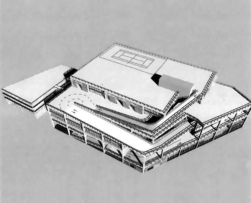Axonometrie soutěžního návrhu odevzdaného ateliérem Lacaton & Vassal; zdroj: archiv autora.