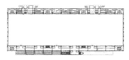 Půdorys Centra Pompidou vPaříži (Rogers + Piano); flexibilita musí být absolutní; zdroj: archiv autora.