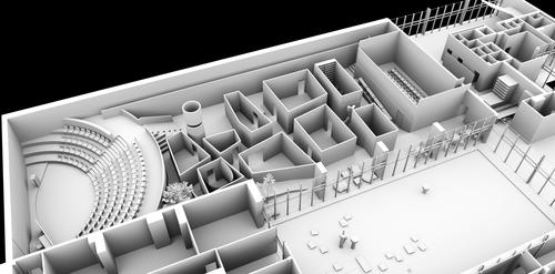 Nerealizovaný návrh Romana Kouckého; z původní koncepce zůstal mj. zachovaný amfiteátr pro přednášky a diskuze; zdroj: IPR Praha.