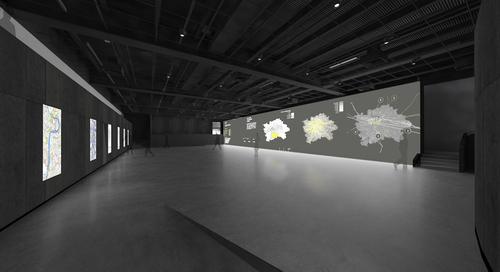 Vizualizace otevřeného prostoru CAMP s projekcí; zdroj: IPR Praha.
