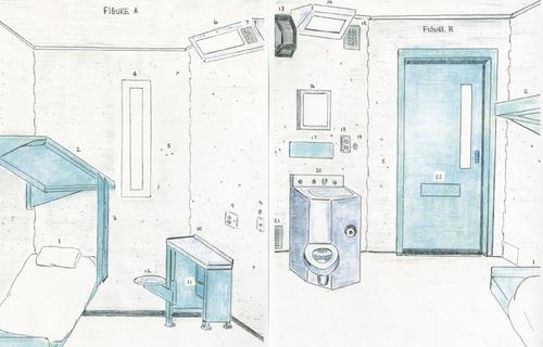 Ilustrace z výstavy Sentenced: Architecture and Human Rights, zachycující prostředí věznice z pohledu uvězněných; autor: Carnell Hunnicutt; zdroj: Architects/Designers/Planners for Social Responsibility.