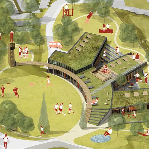 Dětské centrum Staré Brno – vítězný návrh Atelieru Vizage, vizualizace.