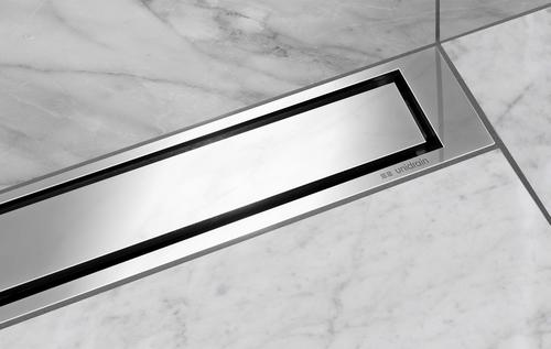 Podlahový odtok z řady HighLine Colour v provedení leštěná ocel.