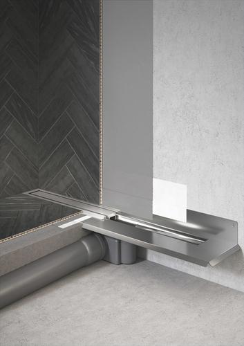 Detail osazení a zapojení podlahového odtoku z řady HighLine Colour.