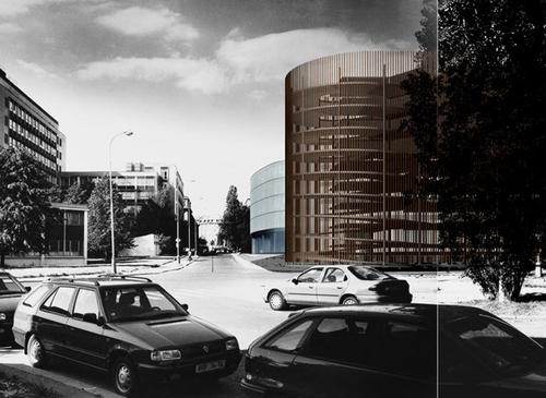 R. Brychta, A. Halíř, V. Králíček, P. Lešek: soutěžní projekt Národní technické knihovny vPraze (2000); zdroj: Projektil architekti.