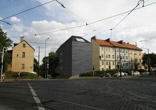 Bakalářský projekt Magdaleny Hlaváčkové ml. – Archiv Pražského hradu na rohu Jelení aUBrusnice, 2011; zdroj: archiv autorky.