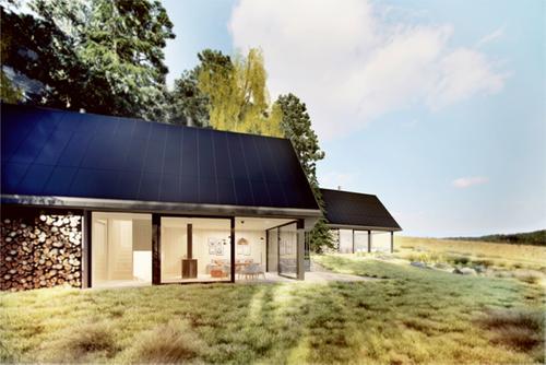 Budoucí podoba dvou ostrovních domů, jenž platforma Český soběstačný dům a její partneři hodlají v následujících měsících vystavět jako veřejně přístupnou laboratoř současných technických možností; vizualizace: vdvrk.com.