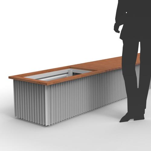 Série vnějších elementů pro sezení a květináče v designu Linarte Block 30 s dřevěným sedákem.