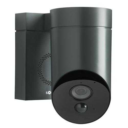 Somfy venkovní kamera s vestavěnou siréno v černém provedení.