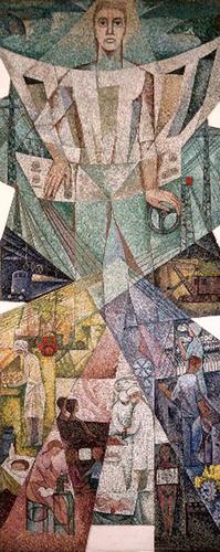 Mozaika Emila Cimbury pro vodní dílo Orlík, zobrazující představu ovelkých vodních dílech jako nositelích modernity, 1956; foto: Jiří Janáč.