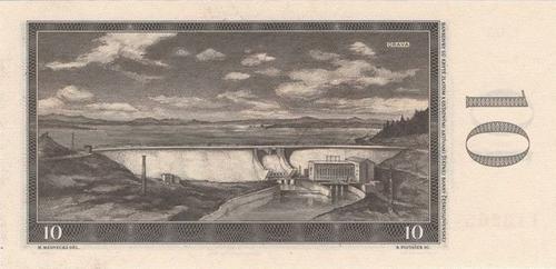 Oravská přehrada na rubu desetikorunové bankovky zroku 1960; zdroj:archiv autora.