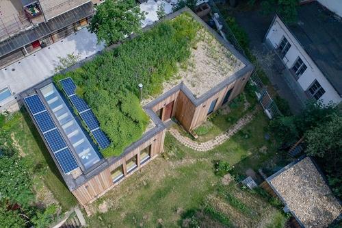 Dům s mokřadní střechou v Praze; foto: Michal Šperling.