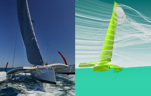Design závodní plachetnice Girlfriend prošel několika stupni testování vprogramech simulujících proudění větru avody; loď je vyrobena zlehkého sklolaminátu askrývá interiér skuchyní, koupelnou aprostorem na spaní; foto:Adr