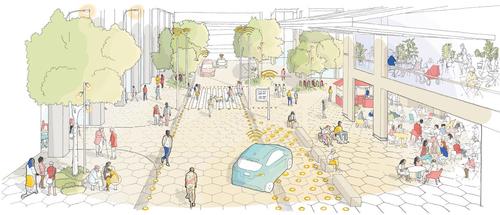 Sidewalk Labs letos zveřejnila urbanistickou studii pro výstavbu pokrokové přístavní čtvrti vTorontu; navrhuje například ulice sadaptabilním osvětlením asemafory, dočasnými K+R stáními nebo otevíratelnými fasádami; zdroj: Sidewalk