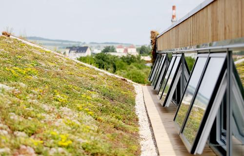 Šedová střecha je pokryta extenzivní zelení, která zachycuje dešťovou vodu, brání přehřívání vnitřního prostředí isamotné konstrukce haly azároveň ochlazuje vzduch, jenž proudí okny do interiéru.