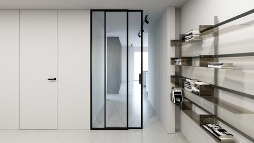 Hliníková příčka Digero s posuvnými dveři v kombinaci s dveřmi Fortius 52.