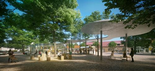 Projektil architekti: vítězný návrh na autobusový terminál veVodňanech.