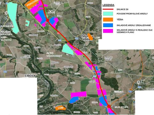 Mapa záměrů voblasti Koridoru D8 zobrazuje již postavené skladové areály aplochy, na kterých se výstavba skladů teprve plánuje; zdroj: architekt Tomáš Lohniský pro sdružení Koridor D8 (www.koridord8.cz).