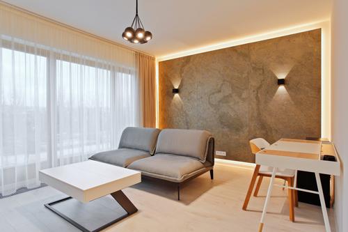 Apartmán Praha-Karlín, dekor kamenné dýhy Jerra Green.