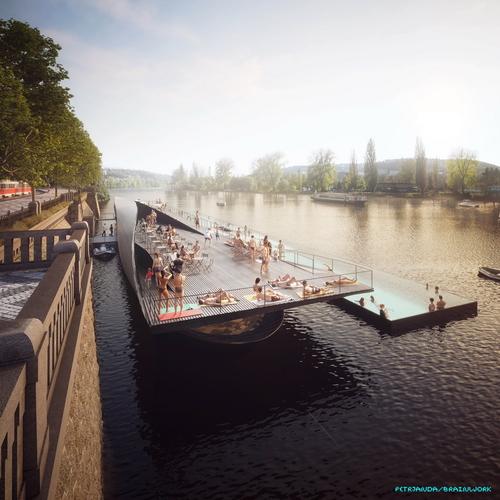 Návrh lázní na jižním konci Rašínova nábřeží transformuje historické téma říčních plováren do současné podoby bazénu typu koupací lodě (Badeschiff).
