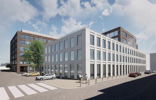 Vizualizace administrativní budovy Mercury v Praze-Holešovicích; zdroj: AFRY CZ s.r.o.
