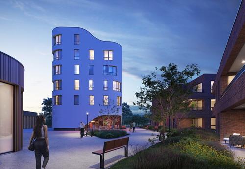 Vizualizace nové obytné čtvrti v Boomu od CONIX RDBM Architects, právě ve výstavbě; zdroj: Amanu invest.