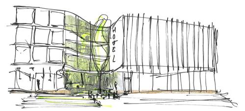 Hotel Jatra v Amsterdamu - skica; zdroj CONIX RDBM Architects.
