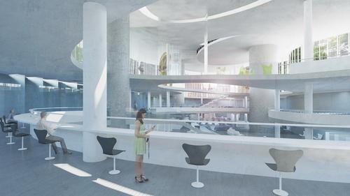 Diplomová práce Petry Ross řešila stavbu veřejné knihovny v Londýně; s projektem získala Kaplicky Internship 2016 ve studiu Zahy Hadid; zdroj: archiv Petry Ross.