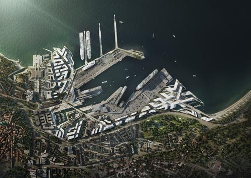 Přístav v Tallinnu od ZHA - vizualizace od VA; zdroj: Zaha Hadid Architects.