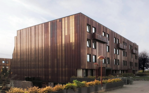 Ruukki dodala speciální měděné lamely pro nové fasády bytového komplexu Ulven Terrasse v norském Oslu; zdroj: Ruukki.