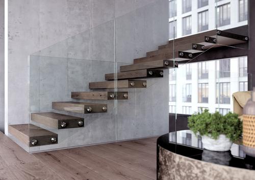 Třmenové schodiště WING s celoskleněným zábradlím; zdroj: JAP FUTURE.