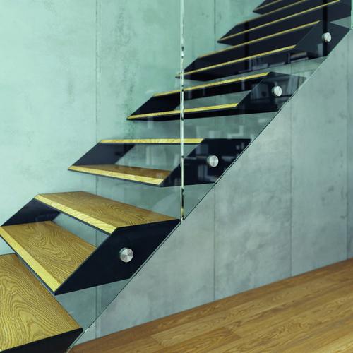 Třmenové schodiště BOX s celoskleněným zábradlím; zdroj: JAP FUTURE.