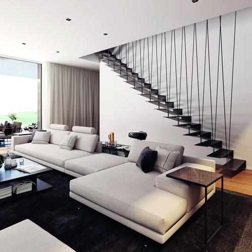 Třmenové schodiště SPIRIT s atypickým zábradlím; zdroj: JAP FUTURE.